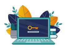 Computer Security 2. Computer security concept. A laptop with a key icon and a password field on the monitor. Vector illustration stock illustration