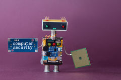 Computer security concept. Abstract robotic worker with circuit chip. Violet background. royalty free stock image
