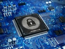 Computer security concept - Lock on computer microprocessor chip Royalty Free Stock Images