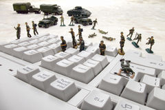 Computer Security Cyber Attack by Toy Soldiers