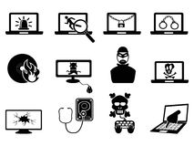 Computer security and Cyber Thift icons. Isolated computer security and Cyber Thift icons from white background Stock Photos