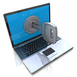 Computer security 3d concept - laptop and key Stock Photography