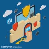 Computer security, data protection vector concept. Computer security, data protection flat 3d isometric vector concept Stock Photos