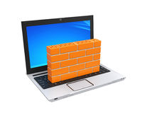 Computer Security Firewall Concept. Isolated on white background. 3D render Stock Image