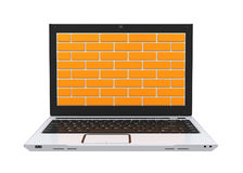 Computer Security Firewall Concept. Isolated on white background. 3D render Royalty Free Stock Photos