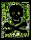 Computer security, hacker. Jolly Roger, the piratess flag on the words regarding computer security and hackers vector illustration