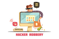 Computer Security Hacker Retro Cartoon Icon Royalty Free Stock Photo