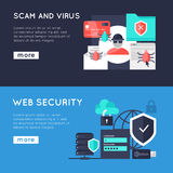 Computer Security Horizontal Banners. With web protection spam and virus on blue backgrounds isolated vector illustration Stock Photo