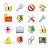 Computer security icon set. Set of web icon illustrations isolated on a white background