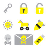 Computer security icon set flat style 2 Royalty Free Stock Images