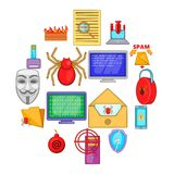 Computer security icons set, cartoon style. Computer security icons set in cartoon style. Cyber virus set collection vector illustration Stock Photography