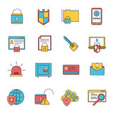 Computer security icons set line Stock Photo