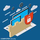Computer security, information protection vector concept Royalty Free Stock Images