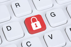 Computer security on the internet lock icon Royalty Free Stock Image