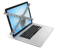 Computer security. laptop locked with chains and Stock Photo