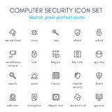 Computer security line icon set. Royalty Free Stock Photo