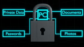 Computer Security Lock 3D Render Royalty Free Stock Image