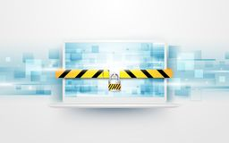 Computer security, protect your laptop concept with abstract digital hi tech rectangles background Stock Photography