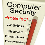 Computer Security Protected Meter. Computer Security Protected Monitor Shows Laptop Interet Safety Royalty Free Stock Photo