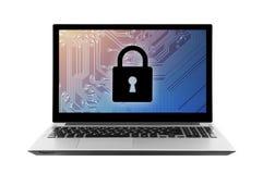 Computer security system on laptop Stock Photos