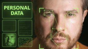 Computer security system scanning man`s face. Personal data related clip. Computer security system scanning man`s face stock footage