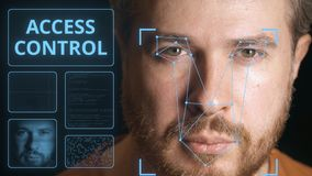 Security system scanning man`s face. Electronic access control related clip. Computer security system scanning man`s face stock illustration