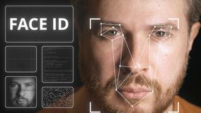 Computer security system scans human face. Computer security system scanning face stock video
