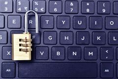 Unlock padlock on keyboard with text space royalty free stock images