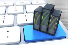 Computer server on the blue button keyboard. In the design of information related to computer technology Royalty Free Stock Photography