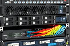 Computer Server closeup, 3D. Rendering Royalty Free Stock Photo