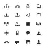 Computer Server Equipment Mobile Phone Icons Icon Upload Download Files Folder File CPU Storage Router Technology Web Internet Set Royalty Free Stock Photos