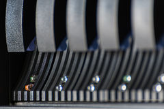 Computer server harddisk LED error alert sign. Computer server mainframe and harddisk drive raid storage with LED error alert sign fail in computer server data Royalty Free Stock Photo
