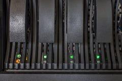 Computer server harddisk LED error alert sign. Computer server mainframe and harddisk drive raid storage with LED error alert sign fail in computer server data Stock Images