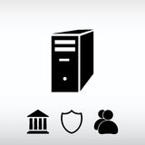 Computer server icon, vector illustration. Flat design style Royalty Free Stock Images