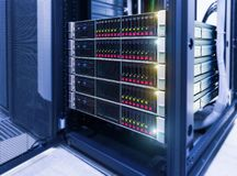 Computer Server mount on rack in data center room. disassembled strut blade servers. Disassembled strut blade servers in the modern data center stock image