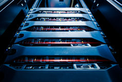 Computer Server mount on rack in data center room Royalty Free Stock Photography