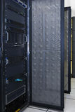 Computer server rack. Servers and network equipment in rack royalty free stock image
