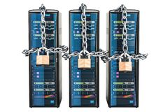 Computer Server Racks with chain and padlocks. Security and prot. Ection concept Stock Image