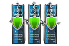 Computer Server Racks with chain and shields. Security and prote. Ction concept. 3D Stock Photo