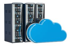 Computer Server Racks with computing cloud. Storage concept, 3D Royalty Free Stock Images