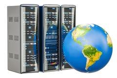 Computer Server Racks with Earth Globe. Global internet concept, Stock Photos