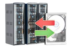 Computer Server Racks with green and red arrows, synchronization. Or backup concept. 3D Stock Image