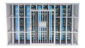Computer Server Racks inside cage, prison cell. 3D rendering vector illustration