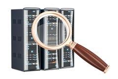 Computer Server Racks with magnifier, 3D rendering Stock Photo