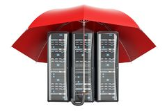 Computer Server Racks with umbrella, protection concept. 3D rend Stock Photography