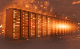 Computer server room with binary data. 3d render Royalty Free Stock Photo