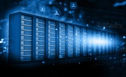 Computer server room with binary data. 3d render Royalty Free Stock Photos