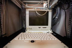 Computer in a server room Royalty Free Stock Photography