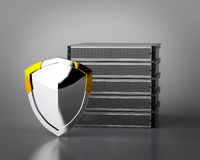Computer Server with Shield Royalty Free Stock Photo