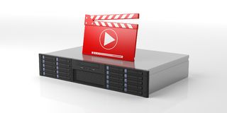 Computer server storage unit and movie clapper on white background. 3d illustration Royalty Free Stock Photography